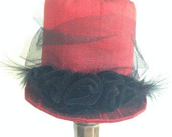 Elegant Red Mini Top Hat, Mad Hatter Mini Hat, Steampunk Fascinator Victorian Riding Hat