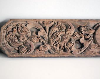Antique Indian Door Header, Carved Wood Piece, Architectural Salvage, Rustic Decor, Vintage Wall Hanging, Assemblage Supply, Bohemian Decor
