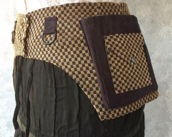 Brown checkerboard pocket belt - desert festival utility belt - hip pack fanny pack - unisex pocket belt - corduroy pocket belt - Medium