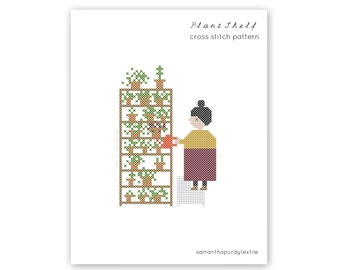 cross stitch pattern PDF Plant Shelf