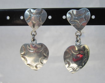 Vintage Taxco Mexico - Native American - Southwestern Style Sterling Silver Hand Stamped Heart Dangle Earrings     1237