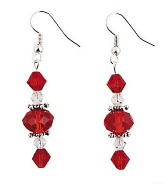 Red Faceted Dangle Earrings