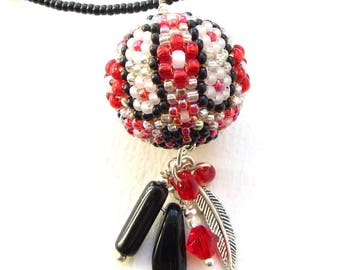 Black and White and Red All Over Beaded Bead Pendant