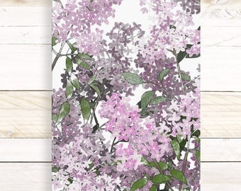 Lilac Forest - Watercolor Botanical wall hanging, wood trim art. Scientific Canvas Posters Chart | More Options