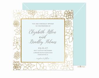 invitation template, succulents, printable invitation, save the date, robins egg blue, wedding invitation, blue and gold, botanical wedding