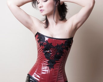 Dark Red PVC and Lace Corset-Made to Measure