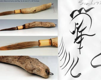 Hand made artists brush, driftwood, bamboo and elk hair b177