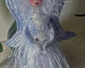"""Exquisite, 6"""" standing, fiber sculpted CRYSTAL ANGEL, silk face and Swarovski crystal accents"""
