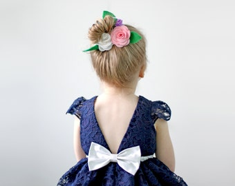 Navy and Silver Dress for Toddler and Girl, Birthday, Flower Girl, Special Occasion