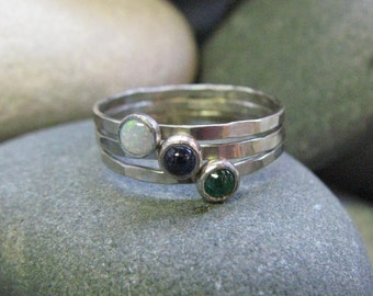 14k White Gold Birthstone Ring. Hammered Band. Stackable. Engraveable