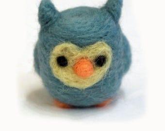 Needle Felted Owl Soft Sculpture Figurine - Ready to Ship - Owl Art - Felt Owl Miniature - Owl Figure - Felted Great Horned Owl Art Doll