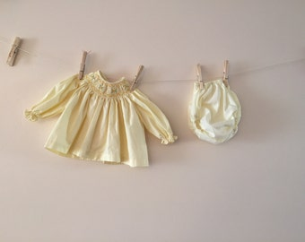 Vintage Baby Yellow Dress set newborn to 3 months 1950s hand smocked