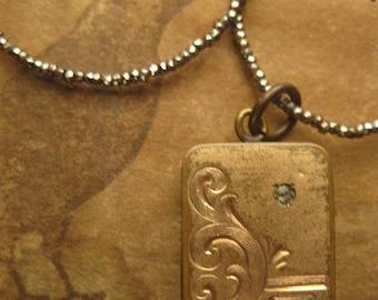 rosegold ~ antique locket steel cut necklace