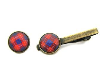 Scottish Tartan Jewelry - Ancient Romance Series - CHOICE OF ONE Hamilton Clan Tartan 16mm Tie Tack or Tie Clip