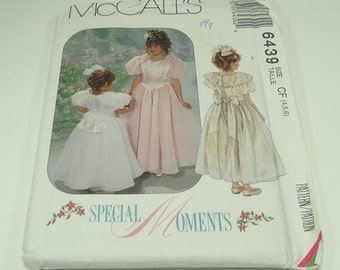McCall's Children's  And Girls' Dresses With Attatched Petticoat Pattern 6439 Size 4-5-6
