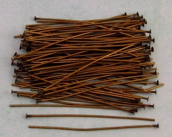 2 Inch Head Pins, Antique Brass, Brass Ox, 100 pieces, AB83