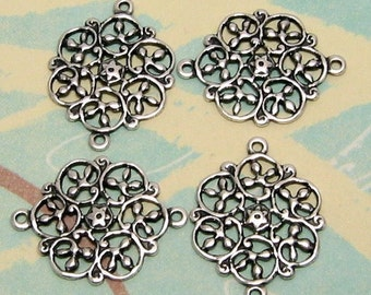 Filigree Connector, Antique Silver, 4 Pc. AS129-2