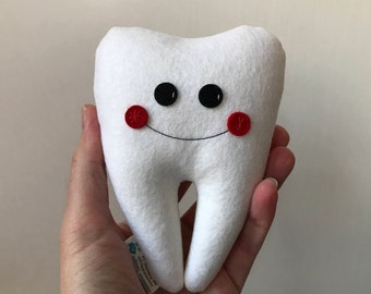 """SALE My Itty Bitty Tooth Fairy Pillow 5""""- Wool Felt in White with red cheeks, ready to ship"""