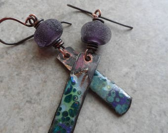 Violets ... Artisan-Made Rustic Gem Lampwork, Enameled Copper Numi-Stick and Copper Wire-Wrapped Lightweight Boho, Rustic Earrings