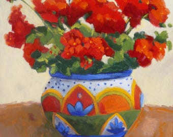 Original Still Life Oil Painting//Red Geraniums in Talevera Mexican Pottery//12 x 12 Canvas//Signed by Janet Ramble