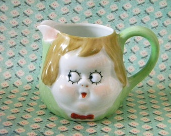 Vintage Creamer or Small Pitcher Marked Nippon with Googley Eyed Face