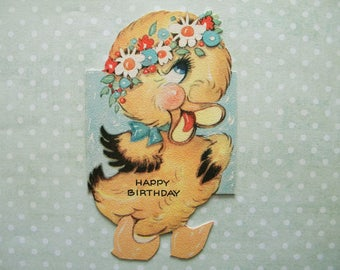 Vintage Birthday Card Duckling with Wreath of Flowers Easter Springtime