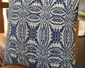 Handwoven Pillow/Overshot Pattern/Blue and White