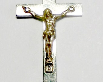 Italian Silver Crucifix and rosary connectors