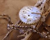 Winter Moon Talisman Necklace + Winter Solstice + Vintage Ethnographic Gilgit Shell Button + Rainbow Moonstone, Labradorite, Pearls, Silk
