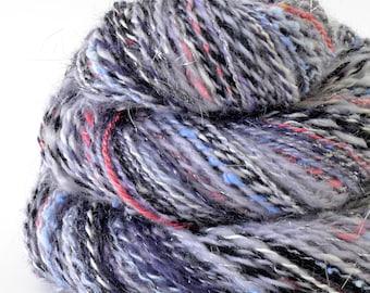 Handspun Yarn -  Hand Spun Merino Bamboo Silk  Yarn - Art Yarn- 1.6oz, 164yd, 16WPI