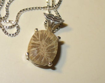 Fossil Coral Pendant Necklace in Solid 925 Sterling Silver - Genuine, Natural Organic Gemstone