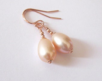 Blush Pink Pearl Rose Gold Filled Earrings, Large Tear Drop Freshwater Pearls, Natural Peach Pink Color