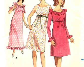 UNCUT Dress with Optional Ruffle Collar Bust 32 Butterick 3956 Vintage Sewing Pattern