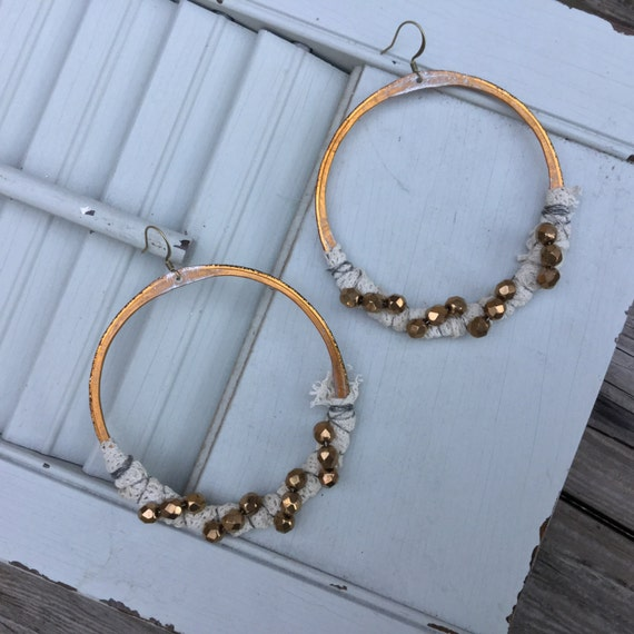 Bronze Lace Wrapped Large Boho Hoop Earrings | Bohemian Sterling Silver, Antique Lace & Czech Glass Beads