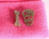 Skull and Bone Brooch Set, Super Glittery Brooches, Gold Glitter Acrylic, Laser Cut, Stocking filler, Made in Brighton, UK
