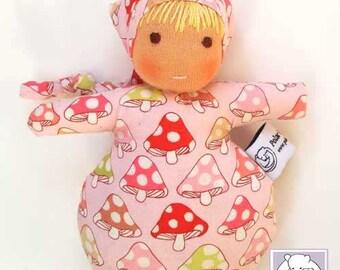 Waldorf inspired Mini Baby , Pink Mushrooms
