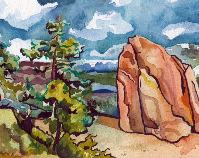 Featured listing image: Watercolor and Ink Painting of a Rock on Donner Summit - Original Art by Jen Tracy - Natural Landscape Painted by Hand