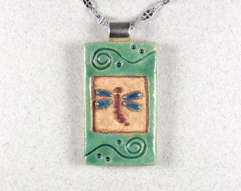 "Dragonfly Necklace,  Stoneware Miniature Tile ~ Blue ~ Green ~ 20"" Stainless Steel Chain"