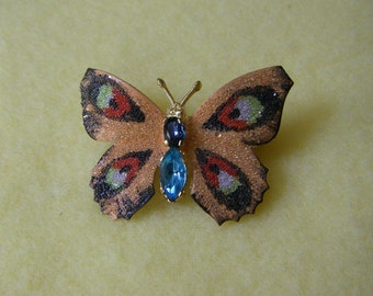 Vintage Peach Butterfly Brooch Pin, gold tone with enamel and light blue rhinestones
