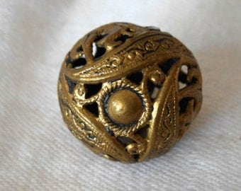 ANTIQUE Pierced Round Ball Metal Button