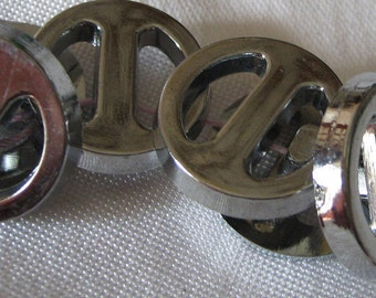 Set of 6 VINTAGE Buckle Look Silver Metalized Pierced Plastic BUTTONS