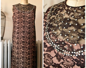 Celeste | Vintage 1960's Dress Black Lace Dress with Rhinestones Peach Pink Lining Illusion Shift Dress Cocktail Dress Party Dress
