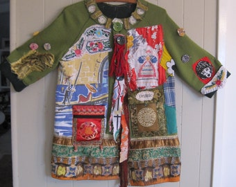 green goulash -- Fabric Collage Clothing -- Altered Vintage Linens  --Eclectic Artisan --Wearable Folk Art -- mybonny scraps