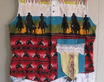 altered WESTERN SHIRT for a COWGIRL-  Wearable Fabric Collage Folk Art - myBonny