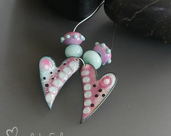 Handmade torch fired enameled component |  earring pair   |  made by Silke Buechler