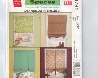 Craft Sewing Pattern McCalls M4731 4731 Easy Window Shades Treatments Trading Spaces UNCUT