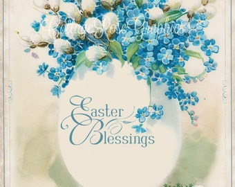 Vintage EASTER Blessings Easter Egg Large digital download ECS buy 3 get one free romantic cottage single image svfteam Forget me nots