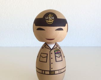 Military uniform kokeshi doll. Can be customized.
