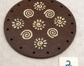 """4"""" Clay Base for Pine Needle Basket SUNS AND SPIRALS #2"""