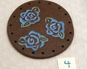 "4"" Clay Base for Pine Needle Basket BLUE ROSES #4"